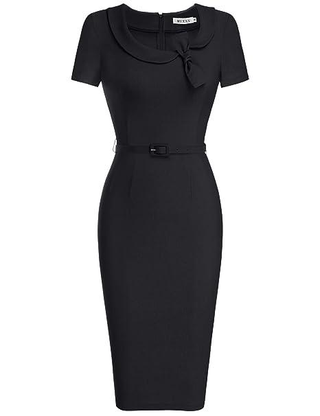 Muxxn Womens Audrey Hepburn Style Short Sleeve Belt Waist Cocktail