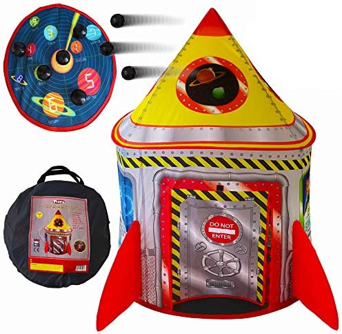 Playz 5-in-1 Rocket Ship Play Tent for Kids with Dart Board, Tic Tac Toe, Maze Game, & Immersive Floor – Indoor & Outdoor Popup Playhouse Set for Toddler, Baby, & Children Birthday Gifts