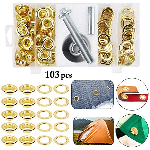 - Outgeek Grommet Kit 1/2 inch, 100 Sets Metal Eyelets Ring Grommet Setting Tool Kit with 3PCS Setting Tools for Tarp Tent Canopy Awning Folder Covers Canvas Repairs (1/2 Inch Inside Diameter)