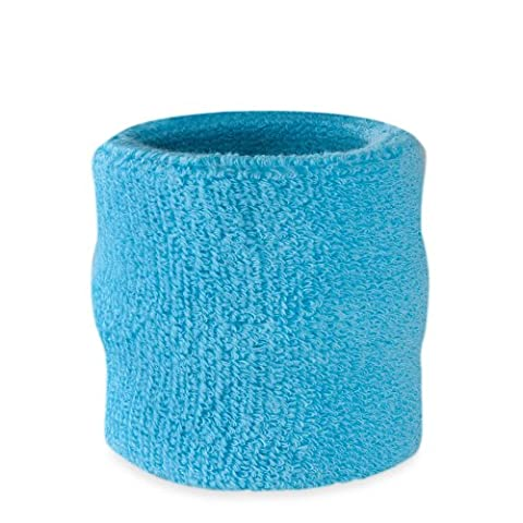 Suddora Wrist Sweatband Also Available in Neon Colors - Athletic Cotton Terry Cloth Wristband for Sports (Neon Blue)(1