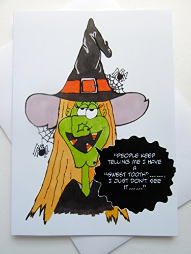 Funny Halloween Card - Witch Halloween Card - Hilarious Halloween Card - Cartoon Halloween Witch Card ()