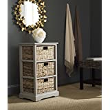 Safavieh American Homes Collection Halle Vintage White 3 Wicker Basket Storage Side Table