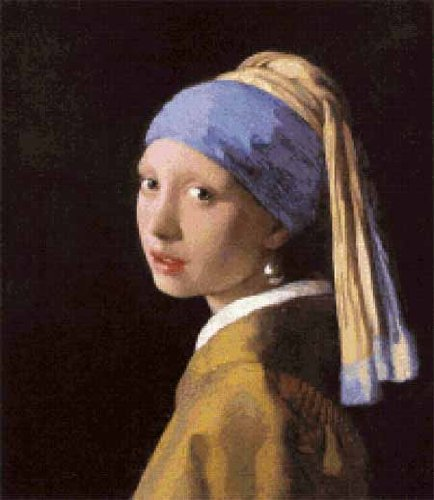 Scarlet Quince VER004lg Girl with a Pearl Earring by Johannes Vermeer Counted Cross Stitch Chart, Large Size Symbols