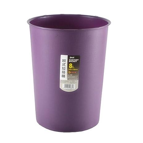 Hflove Office Wastebasket Living Room Plastic Trash Can,8L (Purple)