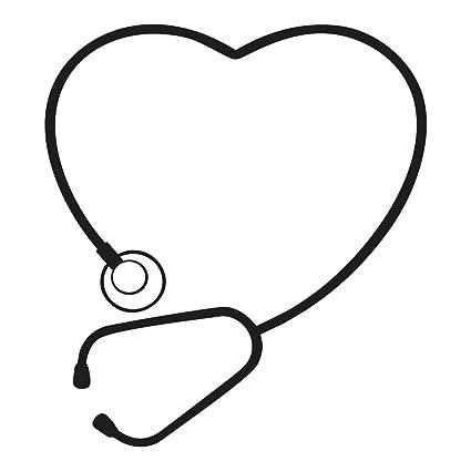 Stethoscope heart. Cute art black vinyl