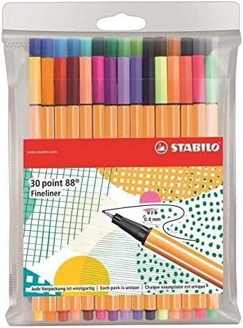 Bolígrafo fieltro – Stabilo point 88 – Estuche de 30 bolígrafos ...