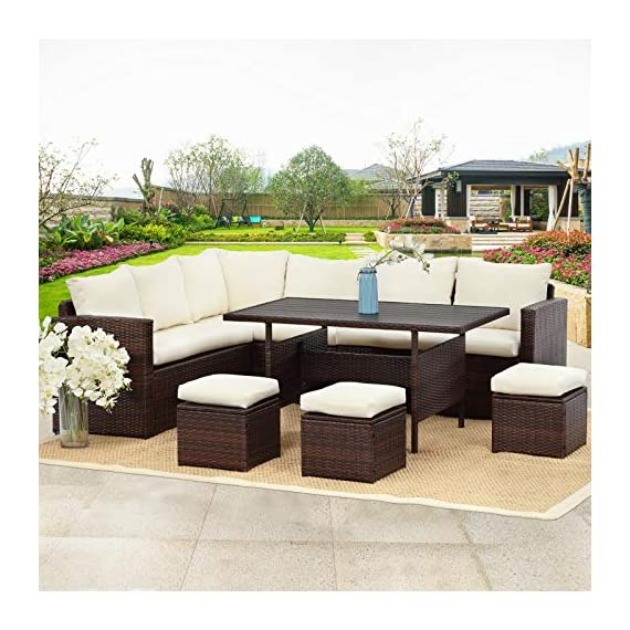 Wisteria Lane Patio Furniture Set,7 PCS Outdoor Conversation Set All Weather Wicker Sectional Sofa Couch Dining Table Chair with Ottoman,Ivory - EXQUISITE DESIGN - Combine the functionality of wood and iron with the comfort of wicker has a refined classic style,easier to match any preexisting decor OPTIMAL COMFORT - All cushions filled with thick sponge for optimal comfort and relaxation.Wide and deep seat will provide enough room to set comfortably HANDWORK MATERIAL - Made of strong galvanized steel frame and all-weather hand woven PE rattan.A handsome décor to your patio,porch,garden,yard or lawn - patio-furniture, dining-sets-patio-funiture, patio - 518pcksi4kL. SS570  -