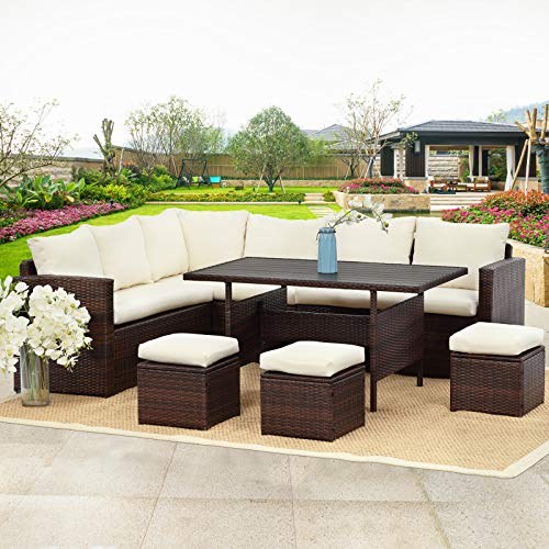 Wisteria Lane Patio Furniture Set,10 PCS Outdoor Conversation Set All Weather Wicker Sectional Sofa Couch Dining Table Chair with Ottoman,Brown (Bench Couch Dining)
