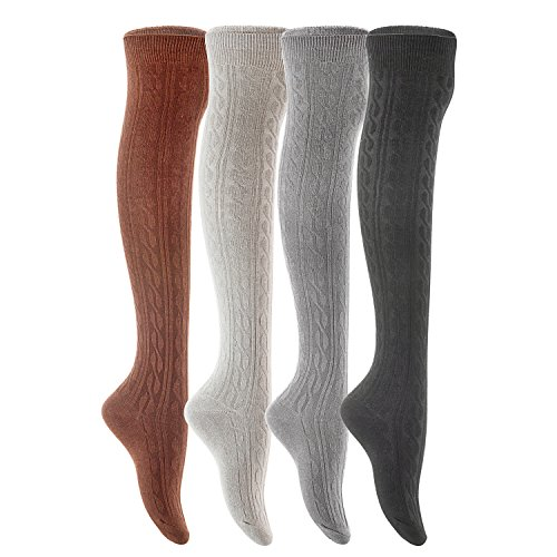 (Lian LifeStyle Women's 4 Pairs Over Knee High Thigh-High Cotton Socks LLS1024 Size 6-9(Black,Coffee,Grey, Dark)