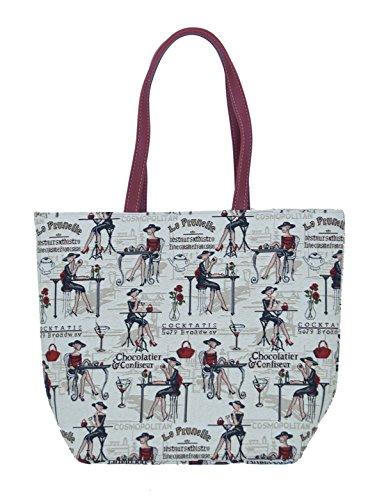 Sac shopper sac à bandoulière beachtasche cafe de paris pour femme-taille l