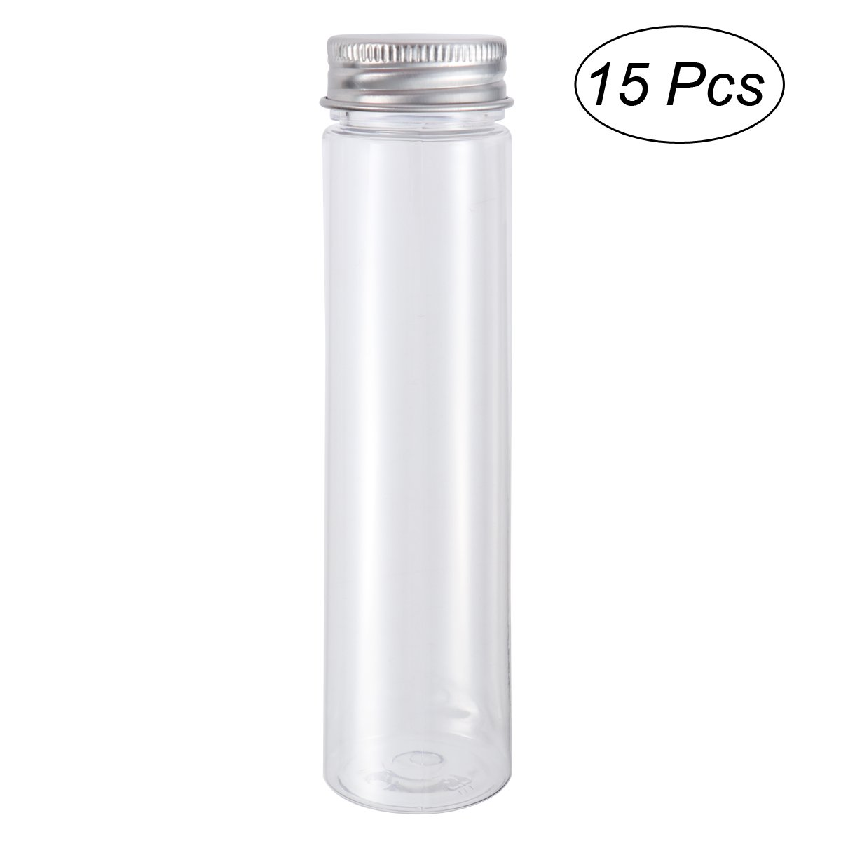 UEETEK 15pcs 110ml Clear Plastic Flat Bottom Test Tubes with Screw Caps - Containers for various purposes