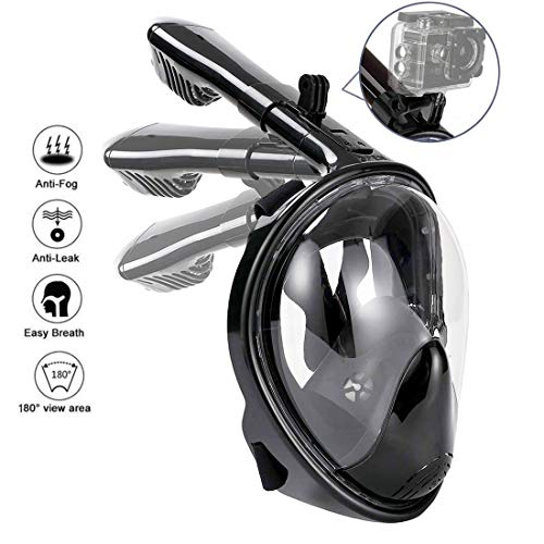 518pd  NEEL - HOTINS Full Face Snorkel Mask 180°Panoramic View Foldable Tube Snorkeling Mask with Detachable Camera Mount Anti-Fog Anti-Leak Easybreath Scuba Gear for Youth & Adult Swimming Diving S/M