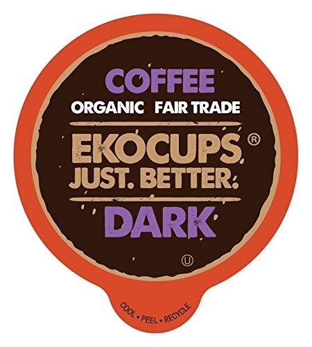EKOCUPS Artisan Organic Dark Coffee, Dark Roast, in Recyclable Single Serve Cups for Keurig K-cup Brewers, 40 count (Count Kcup Coffee 40)