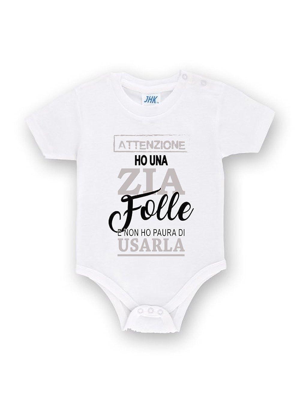 Body neonato bimbo bimba Bianco 3 mesi 6 mesi 9 mesi 12 mesi con Stampa Simpatica Dedica per la Zia prima infanzia regalo