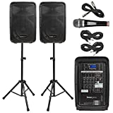 Knox Dual Speaker and Mixer Kit - Portable 8' 300 Watt DJ PA System with Wired Microphone, and Tripods - 8 Channel Amplifier - Bluetooth, USB, SD, 1/4' Line RCA, XLR Inputs