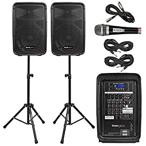 "Knox Dual Speaker and Mixer Kit – Portable 8"" 300 Watt DJ PA System with Wired Microphone, and Tripods – 8 Channel Amplifier – Bluetooth, USB, SD, 1/4"" Line RCA, XLR Inputs"