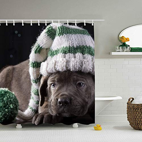 Polyester Fabric Mildew Resistant Shower Curtain,Animal Cane Corso Dogs Baby Puppy Shower Curtains for Bathroom, Print Waterproof Shower Curtains 71 × 71
