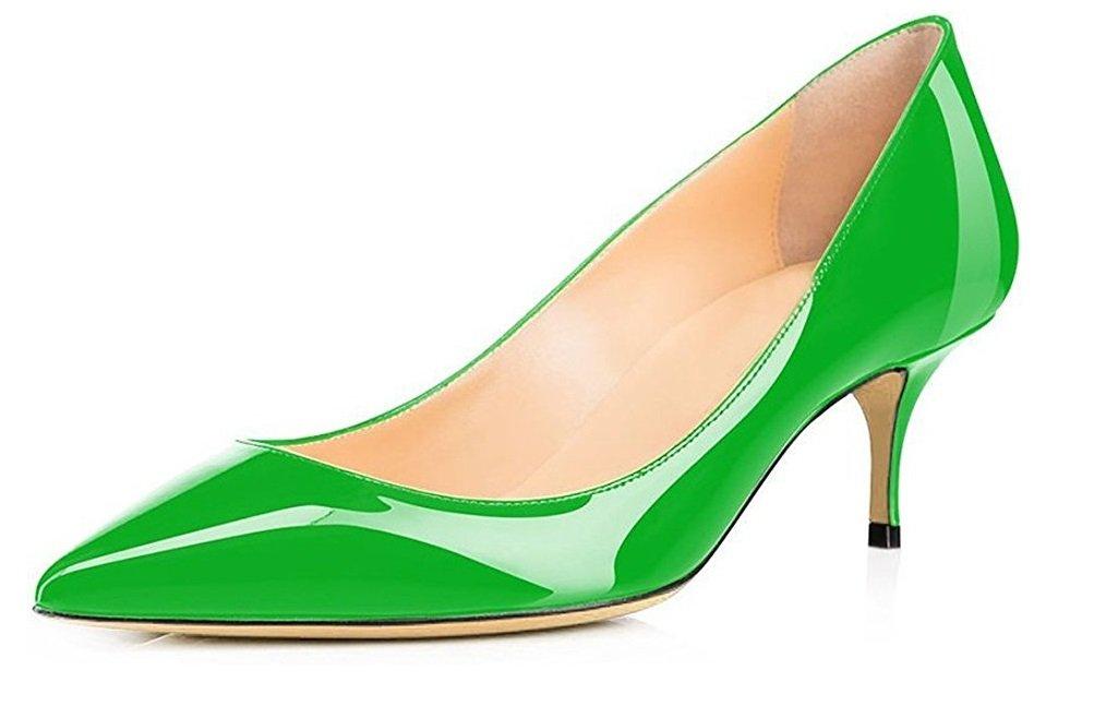EDEFS Damen Pumps mit Absatz Büro Schuhe Frauen Heels Klassische Abendschuhe Hochzeitsschuhe Kitten Heels Frauen Grun 8ad024