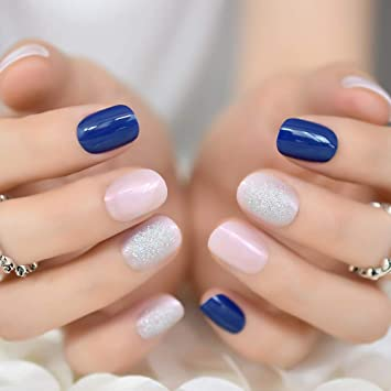 Amazon.com  CoolNail Royal Blue Jelly Pink False Nails Soft