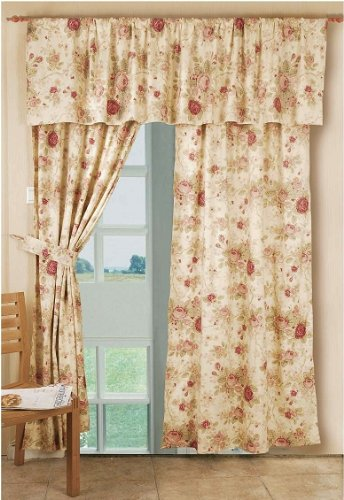 Red Floral Curtains - Greenland Home Antique Rose Panel Pair, 42 by 84-Inch