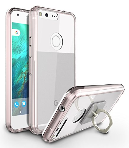 Google Pixel XL Case, Style4U Scratch Resistant Shock Absorbent Slim Clear Back TPU Bumper Case for Google Pixel XL with 1 Ring Holder Kickstand [Rose Gold]
