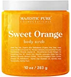 Majestic Pure Sweet Orange Body Scrub - Exfoliates, Moisturizes, and Nourishes Skin, 10 oz