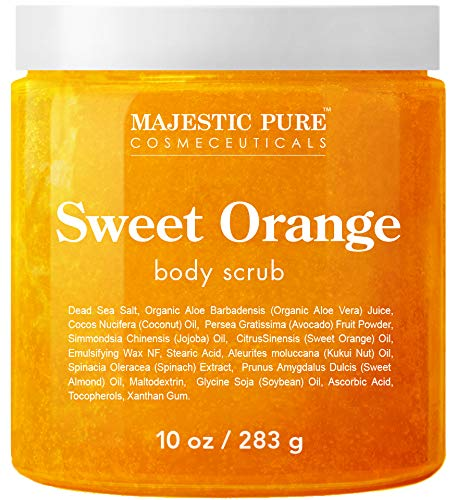 Majestic Pure Sweet Orange Body Scrub - Exfoliates, Moisturizes, and Nourishes Skin, 10 oz best body scrub