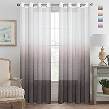 Amazon Com Turquoize Ombre Curtains Grey Sheer Curtains