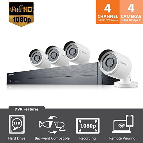 SDH-B73043 - Samsung Wisenet 4 Channel Full HD Video All-In-One Security System with 4 Bullet Cameras. -