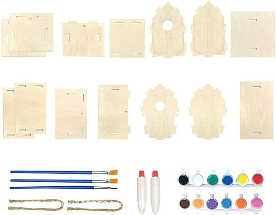 Kit de casa de pájaros DIY para manualidades, casa de pájaros para niñas y niños, nido de madera con pincel y pigmento, casa de pájaros de madera para niños, decoración del hogar