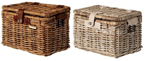 Bell Basil 152043 Denton Wicker Bicycle Basket With Lid Natural Brown Medium