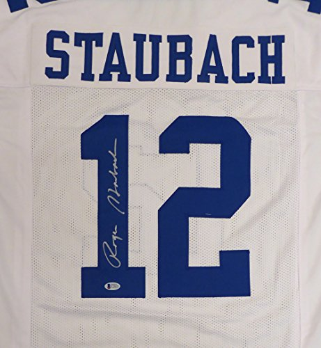 Dallas Cowboys Roger Staubach Autographed White Jersey Beckett BAS