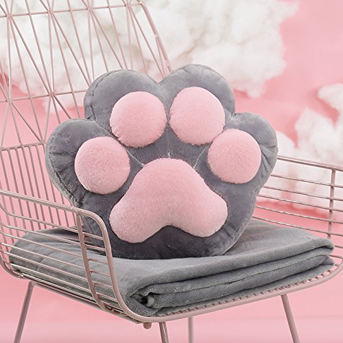 HOMEE the Cushion Lovely Creative Cartoon Blankets Girls Winter Plush Duvet Pillow with Two Three-In-One Warm Hand over,Gray