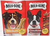Milk Bone 17 oz Pkg Medium Biscuits for dogs over 20 lbs + 19 oz Pkg Small Gravy Bones for dogs of All Sizes