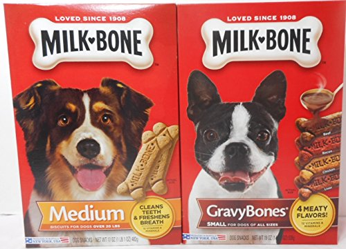 Milk Bone 17 oz Pkg Medium Biscuits for dogs over 20 lbs + 19 oz Pkg Small Gravy Bones for dogs of All (17 Biscuit)