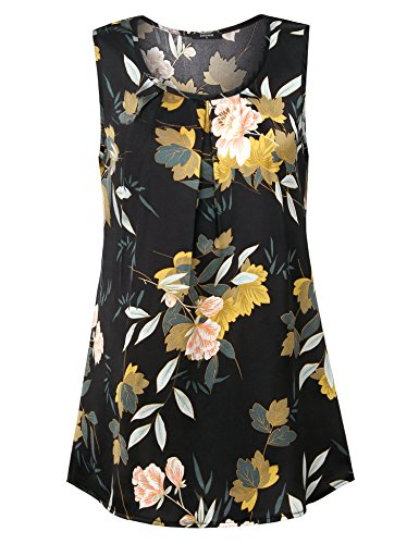 Laksmi Casual Tops for Women, Women's Summer Fashion Sleeveless O Neck A Line Floral Print Loose Swing Holiday Tunic Top and Blouse,Black XXL from Laksmi