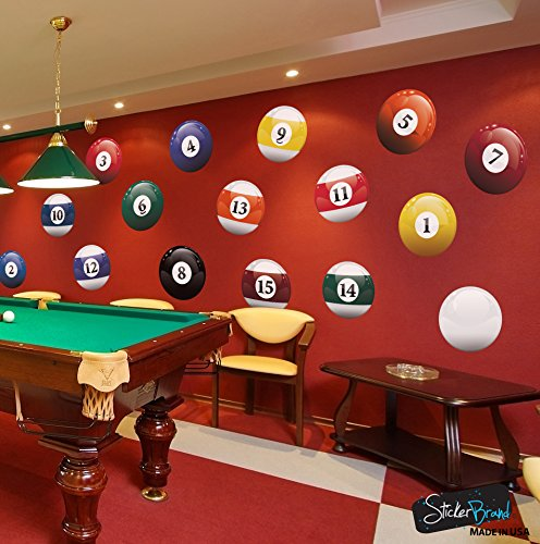 16 Realistic Color Billiard Balls Wall Decal Sticker Game Room Sign Decor (15in X