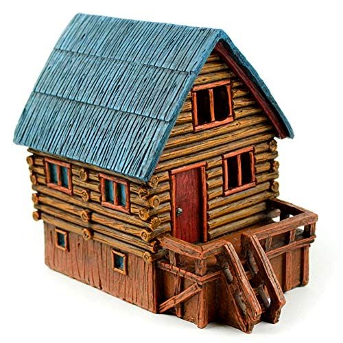 TM Miracle Store Fairy Garden Dollhouse Lawn Yard Decoration Resin Miniature Ornament Mini LED Log Cabin ()