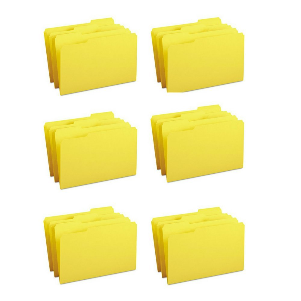 Smead 1/3 Cut Colored Top Tab File Folders-File Folder,1/3 AST 1-Ply Tab,Legal,100/BX,Yellow (Case of 6)