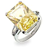 Sterling Silver Elegant Canary CZ Engagement Ring