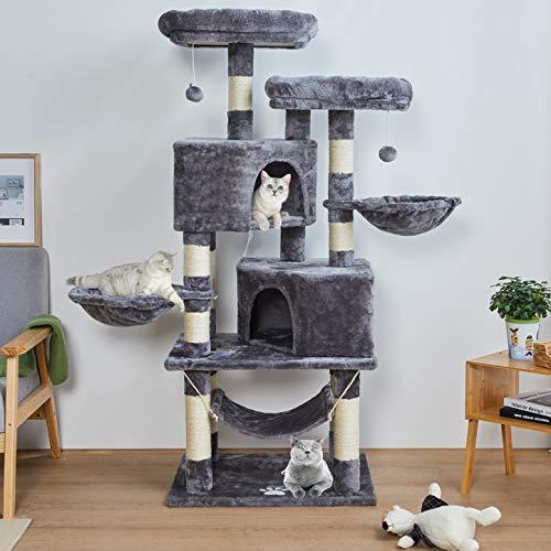 MSmask 145cm Kratzbaum Kletterbaum Stabil Mehrere Ebenen Plattform für Grosse Katzen mit groß Höhle, Sisal-Stämme, Natur…