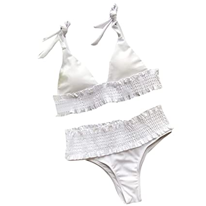 3999dd816a Amazon.com: Yajiemen Women's Ruffles Bow Bikini Switmsuit Ruched ...