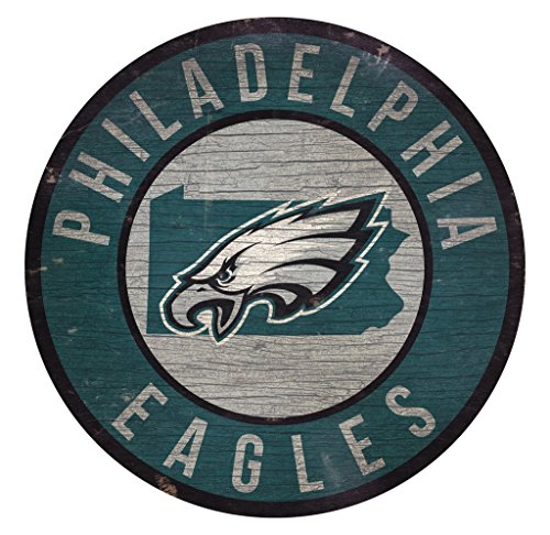 Fan Creations Philadelphia Eagles Wood Sign 12 Inch Round State Design