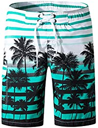 177131a19f Men's Swim Trunks Quick Dry Beach Board Shorts Printed with Mesh Lining