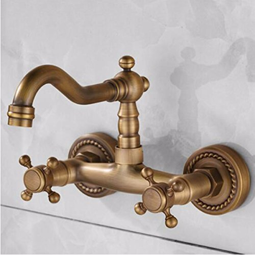 SJQKA European copper antique wall faucet washbasin double handle double hole swivel wall-mounted vintage hot and cold faucet, A ()