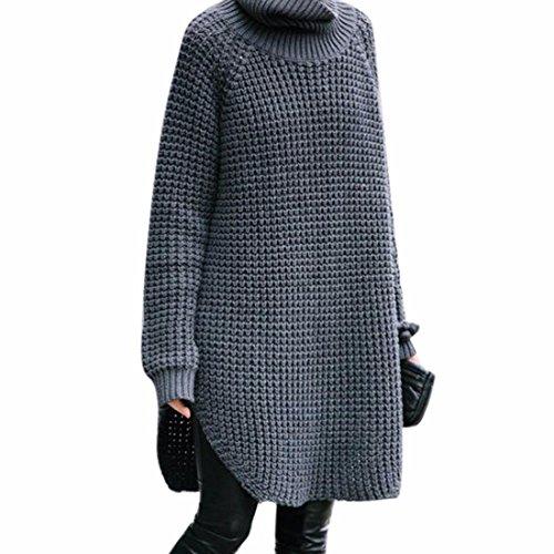 Qiyun Haut Pull Des nbsp;ample Gris Tricot D'hiver over Femmes Col Pull z Épaissir En raRnrSg