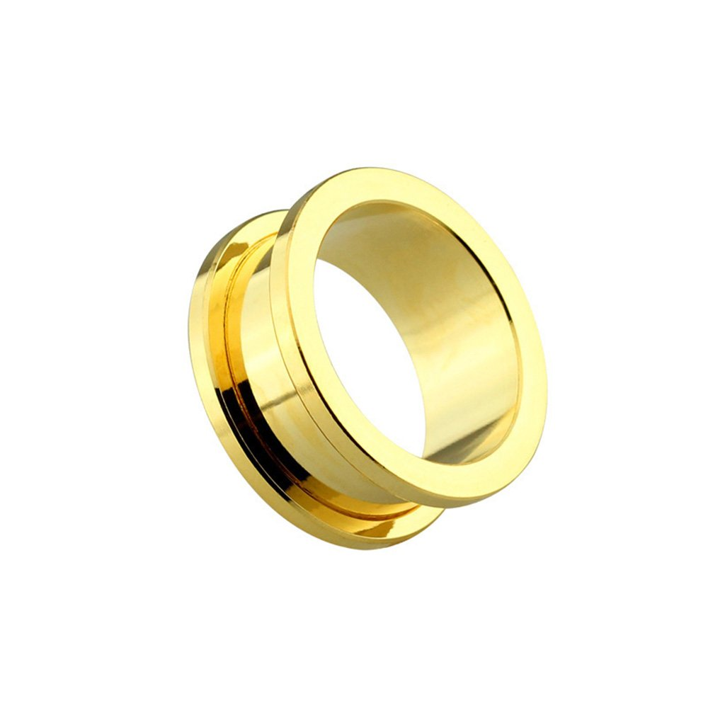 Dynamique Pair Of Screw Fit Tunnel Plugs Gold PVD Plated Over 316L Surgical Steel by Dynamique