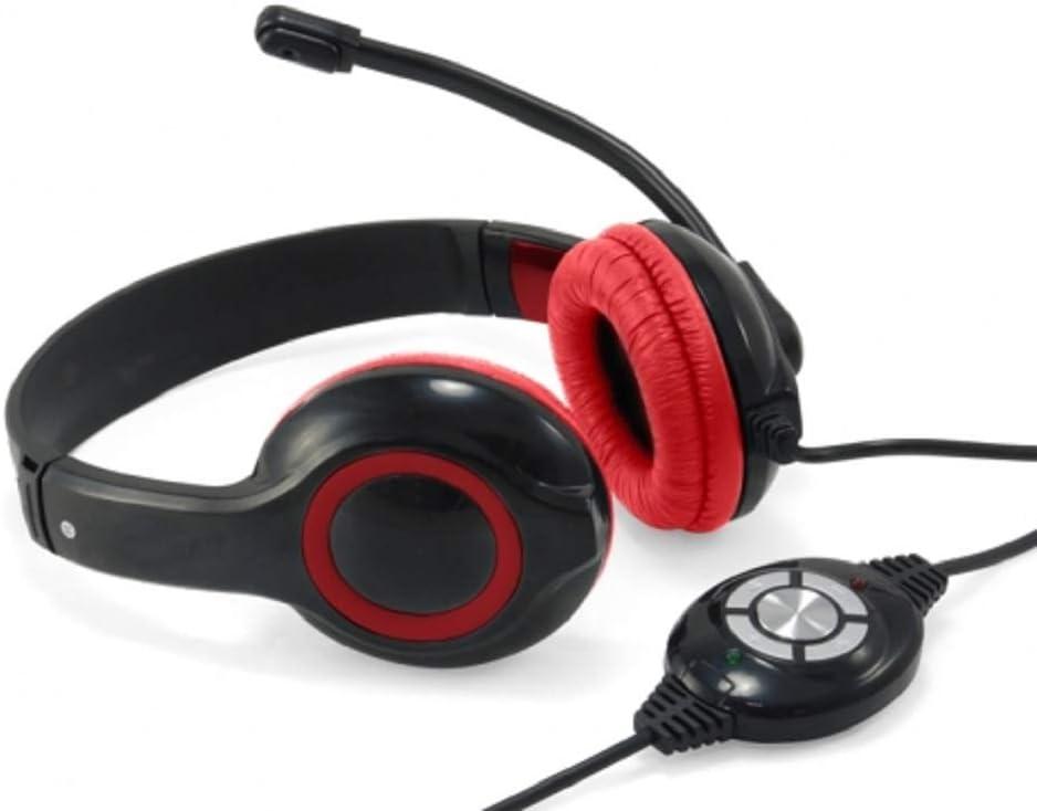 Conceptronic CCHATSTARU2R Binaural Diadema Rojo - Auriculares con micrófono (Centro de Llamadas/Oficina, Binaural, Diadema, Rojo, Digital, Alámbrico)