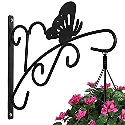 AMAGABELI GARDEN & HOME Hanging Plants Bracket 11'' Wall Planter Hook Flower Pot Bird Feeder Wind Chime Lanterns Hanger Patio Lawn Garden for Shelf Shelves Fence Screw Mount against Door Arm Hardware