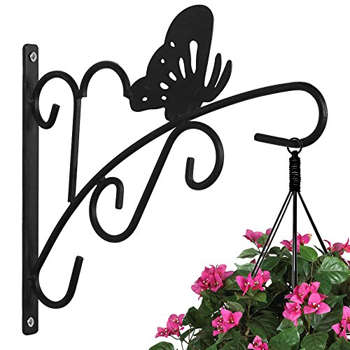 AMAGABELI GARDEN & HOME Hanging Plants Bracket 11'' Wall Planter Hook Flower Pot Bird Feeder Wind Chime Lanterns Hanger Patio Lawn Garden for Shelf Shelves Fence Screw Mount against Door Arm Hardware ()